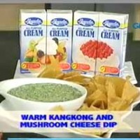 Warm Kangkong and Mushroom Cheese Dip